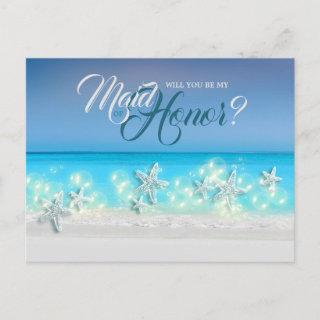 Starfish paradise blue waters tropical maid honor announcement postcard