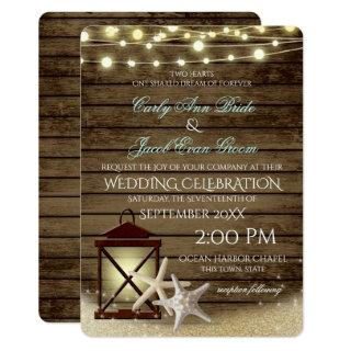 Starfish Rustic Ocean Wood and Lights Invitations
