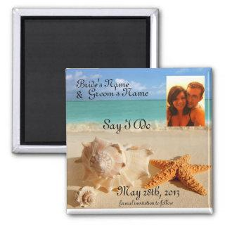 Starfish&Seashells beach save the date pic magnet