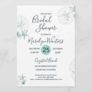 Starfish Shells Modern Elegant Beach Bridal Shower Invitation