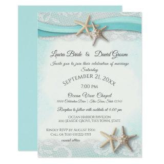 Starfish Tropical Vintage Beach Turquoise Wedding Invitations