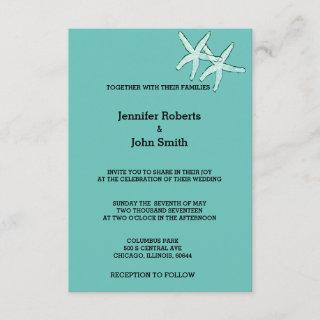 Starfish White Teal Blue Black Cute Custom Wedding Invitation