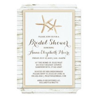 Starfish Whitewashed Wood Beach Bridal Shower Invitation