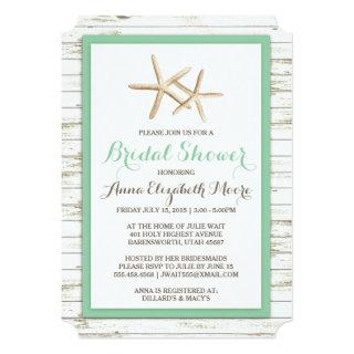 Starfish Whitewashed Wood Beach Bridal Shower Invitations