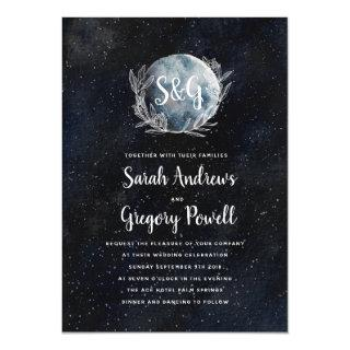 Starry Moonlit Night Monogram Wedding Invitations