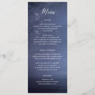 Starry Night Celestial Galaxy Stars Wedding Menu Invitations