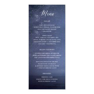 Starry Night Celestial Galaxy Stars Wedding Menu Invitation