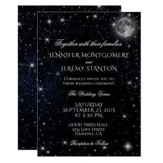 Starry Night Moon Wedding Invitations