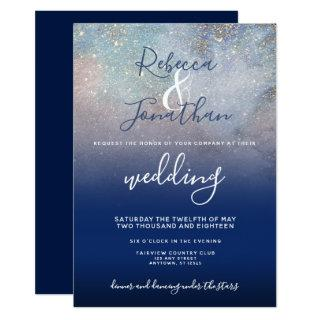 Starry Night Navy and Gold Wedding Invitations