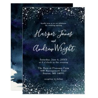 Starry Night Navy Blue Silver Glitter Wedding Invitations
