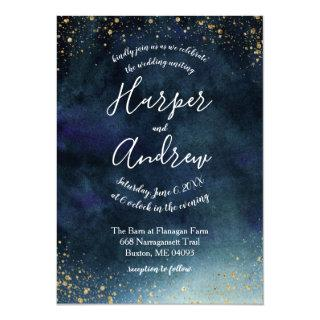 Starry Night Navy Blue Watercolor Wedding Invitations