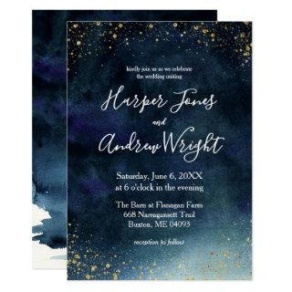 Starry Night Navy Gold Watercolor Wedding Invitations