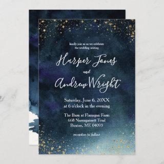 Starry Night Navy Gold Watercolor Wedding