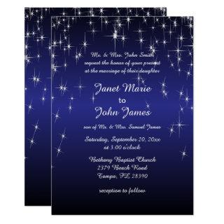 Starry Night Wedding in Dark Blue Invitations