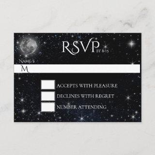 Starry Night with Moon RSVP Card