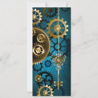 Steampun turquoise Background with Gears Save The Date