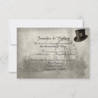 Steampunk Carnival Top Hat Wedding Response Card