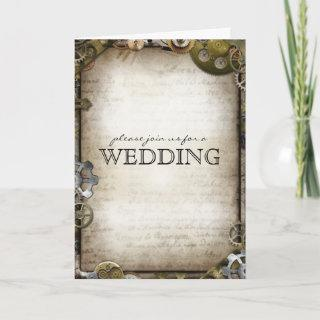 Steampunk Gears Wedding Invitations Greeting Cards