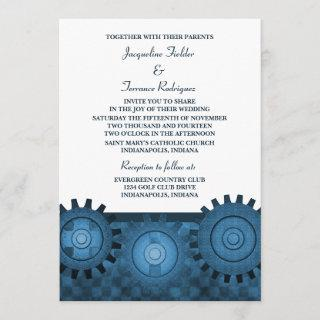 Steampunk Gears Wedding Invite, Blue Invitations