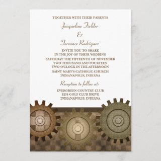 Steampunk Gears Wedding Invite, Brown Invitation