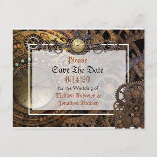 Steampunk Themed Wedding Save the Date Announcement Postcard
