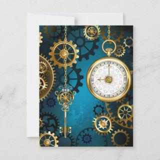 Steampunk turquoise Background with Gears Save The Date