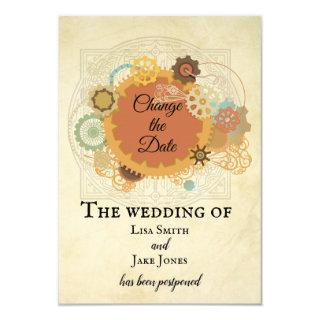 Steampunk Wedding Change the Date Industrial Invitations