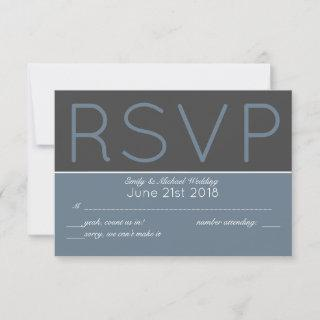 Steel Blue RSVP Modern with Menu Selections