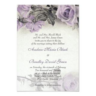 Sterling Silver Purple Rose Wedding Invitations