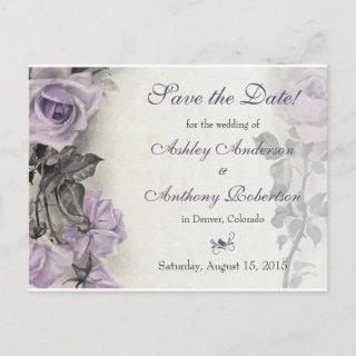 Sterling Silver Purple Rose Wedding Save the Date Announcement Postcard