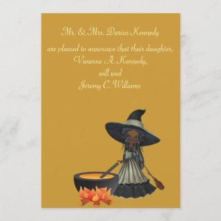 """Stirring Up a Wedding"" - African American Witch Invitations"