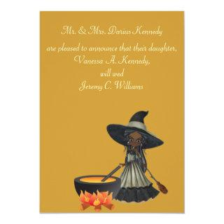 """Stirring Up a Wedding"" - African American Witch Invitation"
