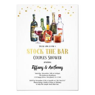 Stock The Bar Couples Shower White & Gold Invitations