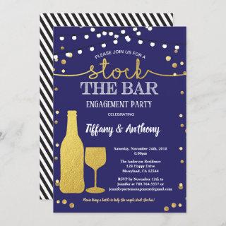 Stock the bar engagement party blue and gold Invitations