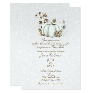 Storybook Gold White Pumpkin Fairy Tale Wedding Invitations