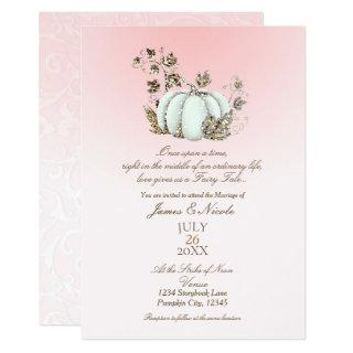 Storybook Pink & White Pumpkin Fairy Tale Wedding Invitations