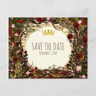 Storybook Princess Vintage Briar Rose Save Date Announcement Postcard
