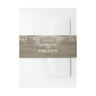 String Lights and Rustic Wood Wedding Invitations Belly Band