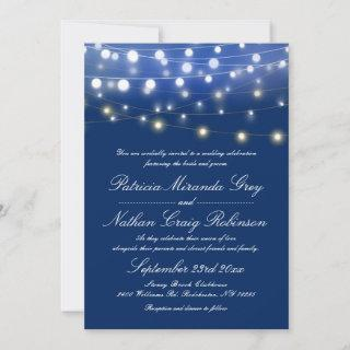 String Lights Evening Wedding Blue Invitations