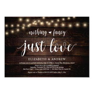 String Lights Farm, wood, Wedding Elopement Party Invitations