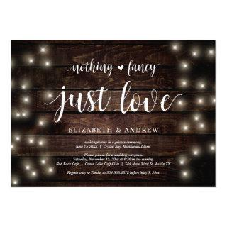 String Lights Farm, wood, Wedding Elopement Party Invitation