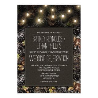 String Lights + Hunting Camo Wedding Invitations