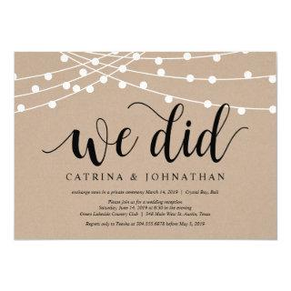 String Lights Kraft, Black font, Wedding Elopement Invitations