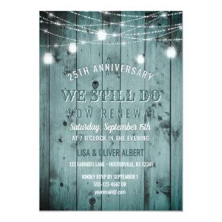 String Lights Mason Jar Rustic Wood Vow Renewal Invitations