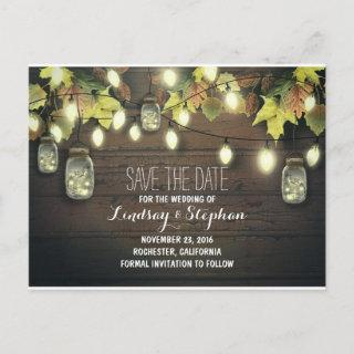 string lights & mason jars rustic save the date announcement postcard