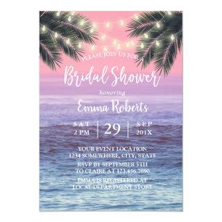 String Lights & Palm Tree Beach Bridal Shower Invitations