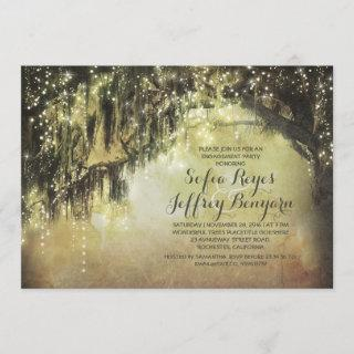 string lights rustic tree vintage engagement party invitation