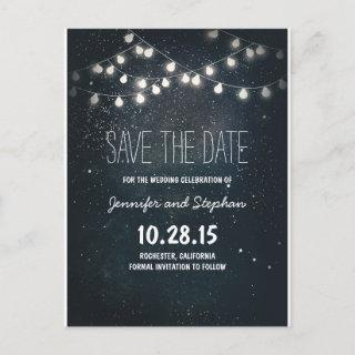 string lights save the date with starry night sky announcement postcard