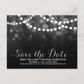 String lights silver bokeh save the date announcement postcard