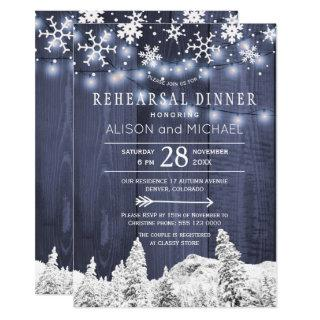 String lights snowflakes winter rehearsal dinner Invitations
